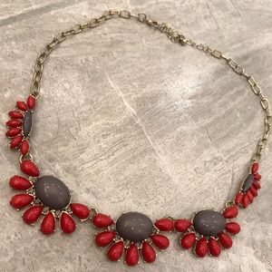 Francesca's Red and Gray Statement Necklace